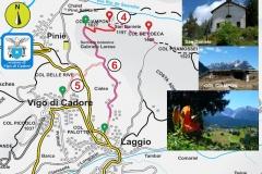 "4. Col Ciampon - San Daniele - Col de Poeca / 5. Vigo - Popolada - Lagunà - Sentiero botanico / 6. Sentiero botanico ""G. Larese"" e museo all'aperto di Col Ciampon"